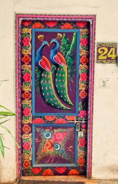 Colorful Door with Birds, Delhi, India Cool Doors, Unique Doors, Entrance Doors, Doorway, Grand Entrance, Deco Cafe, Doors Galore, When One Door Closes, Deco Boheme