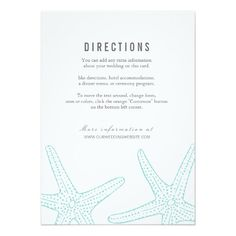 Modern Turquoise Starfish Nautical Beach Coastal Destination Wedding DIRECTIONS To The Wedding Or Reception Information Card