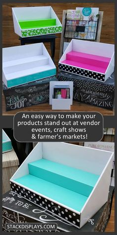 There really is an easier way to set up your products on your vendor table at craft shows and vendor events! There really is an easier way to set up your products on your vendor table at craft shows and vendor events! Craft Show Table, Craft Fair Table, Craft Show Booths, Craft Show Ideas, Craft Fair Ideas To Sell, Craft Fair Displays, Display Ideas, Vendor Displays, Booth Ideas