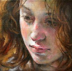 "Moonglance Portrait Original Oil on Canvas 4""x4""x1 5 "" OOAK Figure | eBay"