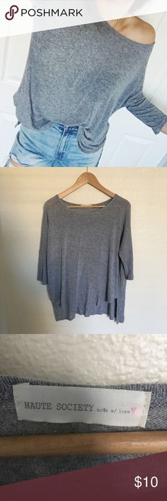 HAUTE SOCIETY Lightknit Loose-Fit Top Great condition, like new.   Brand similar to Brandy Melville. One-size. Thin knitted flowy top.   Has scoop hem in front and square hem in back. Very soft and light shirt. So cute!  Make an offer! Thank your for checking out my closet! PacSun Tops