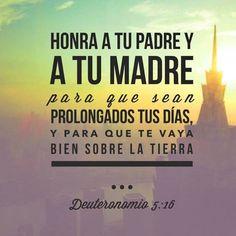 Honra a tu padre y a tu madre para que sean prolongados tus días, y para que te vaya bien sobre la tierra. Dt 5.16