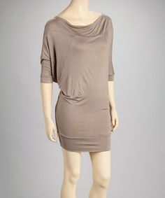 Take a look at this Mocha Cowl Neck Dress by ibbylibby on #zulily today!