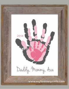 Daddy, Mommy, and Me - Created from your Child's actual prints! Find out more at www.myforeverprints.com