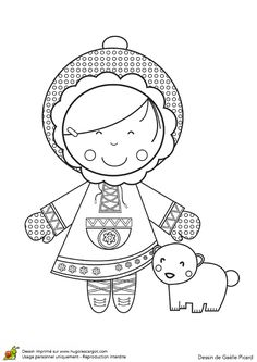 Coloriage / dessin Poupée inuit (equimeau) Cool Coloring Pages, Free Printable Coloring Pages, Coloring For Kids, Adult Coloring, Colouring Sheets For Adults, Coloring Sheets, Looney Tunes, Les Doodle, Doodle People