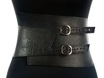 Leather Belt / Two solid buckles / Thin belt / CUBE. Wide Leather Belt, Leather Corset, Leather Harness, Leather Belts, Obi Belt, Corset Belt, Leather Accessories, Fashion Accessories, Fashion Belts