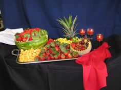 Graduation Party - great fruit platter display idea, especially with the year carved in the watermelon