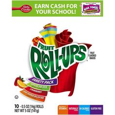 Fruit Roll-Ups Fruit Flavored Snacks Variety Pack, Strawberry/Tropical... ($2) ❤ liked on Polyvore featuring food