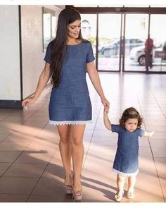 """Mommy holds my hand as I learn to walk. Mom Daughter Matching Outfits, Mommy And Me Outfits, Family Outfits, Kids Outfits, Mother Daughter Fashion, Baby Dress, Kids Fashion, Girls Dresses, Mall"