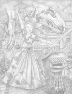 Miss Dr. Applehead Beauty Pageant - Formal Gown Competition  #pencildrawing #surreal #fantasy #fineart