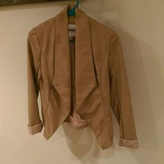 Tan Drape Jacket *REDUCED TO LOWEST* Perfect for Fall or Spring!  Not real leather but not cheesy looking either!  This drapey jacket is an updated alternative to the moto jacket and works really well for going out!  Please note the sides and under sleeves have a nice cotton/spandex panel for a flattering fitted look!  Only worn once, in excellent condition!  Also selling similar jacket in black - please see closet  Might be willing to trade :) Dynamite Jackets & Coats