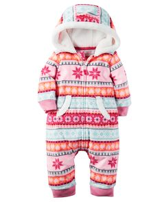 Baby Girl Hooded Fleece Jumpsuit | Carters.com
