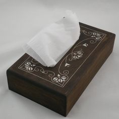 Tissue box walnut with mother of pearl inlays by hamidiyah on Etsy, $48.99