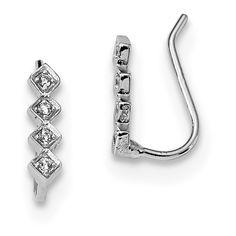 Lex /& Lu Sterling Silver w//Rhodium CZ Double Butterfly Right Cuff Earring