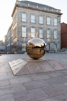 Arnaldo Pomodoro 'Sfera con Sfera' At Berkeley Library forecourt, Trinity College Dublin [Photographed At Sunset] REF--102716 [BY WILLIAM MURPHY]