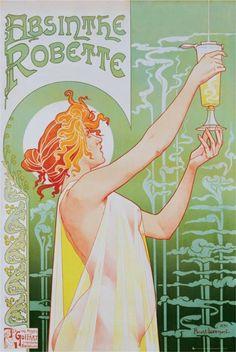 Plakat Absinthe Robette z piękną kobietą z kieliszkiem Absyntu