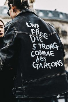 Statement leather jacket.
