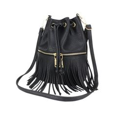 Metallic Zip Fringe PU Leather Crossbody Bag (47 BGN) ❤ liked on Polyvore featuring bags, handbags, shoulder bags, zip shoulder bag, fringe purse, zipper shoulder bag, metallic purse and crossbody shoulder bags