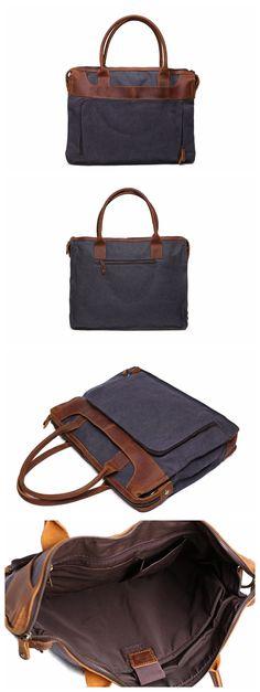 Vintage Style Leather Trimmed Waxed Canvas Briefcase, Messenger Bag, Shoulder Bag YD2193