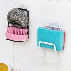 1 Pcs Multi-purpose Sink Sponge Brush Holder Double Iron Suction Wall Bathroom Kitchen Washing Suction Storage Organizer