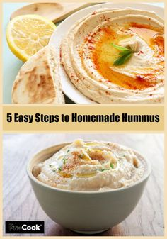 5 Easy steps to delicious homemade hummus! Simply add your choice of extra spices and herbs.