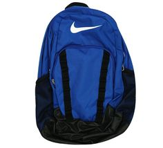 Nike Brasilia 7 Backpack Game Royal/Black/White Size X-Large. Adjustable padded shoulder straps for a comfortable fit. Dual zippers at three main compartments for easy access and convenient storage. Front zip pocket for quick access and small-item storage.