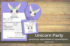 Πάρτυ μονόκερος. Εκτυπώστε δωρεάν ταμπελάκια και προσκλήσεις Unicorn Party, Family Guy, Fictional Characters, Fantasy Characters, Griffins
