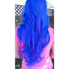 ON SALE Blue and Neon Violet Long Curly Layered Wig Mermaid Hair... ❤ liked on Polyvore featuring hair