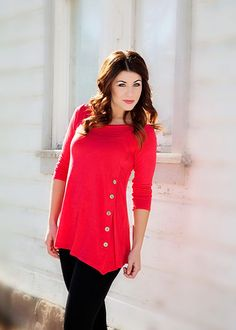 All Buttoned Up Top - Red – Simply Reese