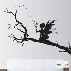 Angel-arboles-Estrellas-Hadas-Cuento-De-Hadas-Calcomanias-De-Pared-Calcomanias-de-Vinilo-Decoracion