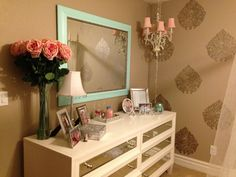 My pink and aqua accented girlie bedroom- white mirrored dresser from Z Gallerie. Mint green mirror - DIY