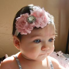 Pink Baby Headband baby girl headbandNewborn por WinterScarlett