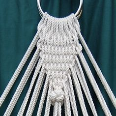 Hammock with ash wood stays, hand netted in cotton seine twine and side rope… Hammock with ash wood stays, hand netted in cotton seine twine and side ropes in cotton with manrope end knots Hammock Netting, Baby Hammock, Hanging Hammock Chair, Hammock Stand, Hammocks, Macrame Art, Macrame Design, Hammock Accessories, Macrame Chairs