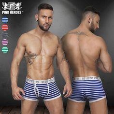 ホットブランドファッションストライプ綿セクシーなメンズunderwear underpant calzoncillosバルジポーチ男性男ボクサーショーツcuecas 120328