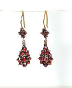 Garnet Earrings, Dangle Earrings, Vintage Earrings, Vintage Jewelry, Real Gold Jewelry, Chalcedony Stone, Jewelry Gifts, Rose, Small Shops