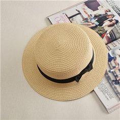 9f82483715b Lady Boater sun caps Ribbon Round Flat Top Straw Fedora Panama Hat