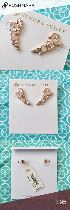 Kendra Scott Ashlyn Ear Climbers NWT Kendra Scott Ashlyn Ear Climbers NWT. Rose Gold with Champagne Drusy. From the Bridal collection. New with tags, never worn. Kendra Scott Jewelry Earrings