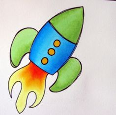 rocket printable + shading how-to step by step