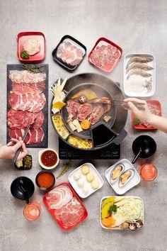 Shabu Kyo on Behance Korean Bbq At Home, Korean Food, Korean Barbeque, Cute Food, Yummy Food, Hot Pot, Dessert Drinks, Aesthetic Food, Food Cravings