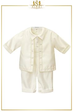 Make your baby's special day one to remember with this gorgeous baby boys 4pc ivory christening suit. Designed by Romano Vianni, this outfit includes jacket, shirt, trousers and matching cute little bonnet. Shop now at SIRRI kids #suits for boys for #wedding #communion online...Elegant fashion for children and men. #fashion #shopping