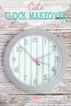 Cute Clock Makeover at Sweet Rose Studio #crafts #homedecor #clocks