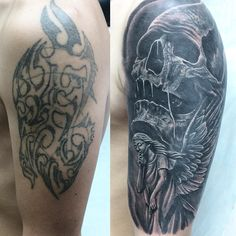 Angel Tattoo on shoulder cover-up by Ravil Gilyazev Forearm Band Tattoos, Cool Arm Tattoos, Body Art Tattoos, Sleeve Tattoos, Cover Up Tattoos For Men, Tattoos For Guys, Tatuaje Cover Up, David Tattoo, Evil Tattoos