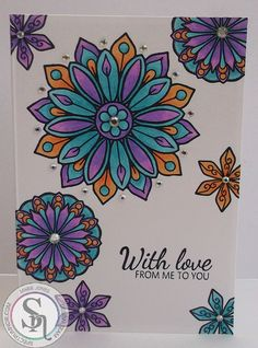 10 x 14cm Card made with Crafter's Companion Colourista Elements 3 stamp, Card Blank & Colourista Pencils. Designed by Marie Jones. #crafterscompanion #spectrumnoir #colorista #adultcolouring #card #handmadecard