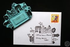 This is simply adorable. So clever Stamp Printing, Screen Printing, Stencil, Impression Textile, Mail Art Envelopes, Eraser Stamp, Stamp Carving, Handmade Stamps, Envelope Art