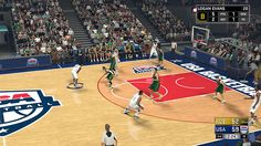Your created player in NBA 2K17 MyCareer playing for Team USA against Australia Boomers.