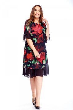 Krásné černé šaty s velkými červenými květinami jistě ocení především dámy plus size. Šaty mají dvě vrstvy z velmi příjemného materiálu (100% viskóza), délka pod kolena, rukávek tříčtvrteční, zapínání na skrytý zip na zádech. Doporučujeme doplnit o psaníčko a boty na podpatku z naší nabídky. Cold Shoulder Dress, Dresses, Fashion, Dark Around Eyes, Vestidos, Moda, Fashion Styles, Dress, Fashion Illustrations