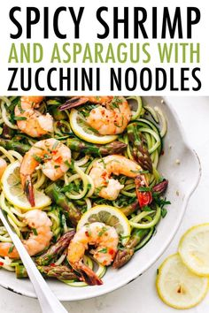 This quick and easy dish features garlic shrimp and fresh asparagus sautéed and served over zucchini noodle pasta. Gluten-free, dairy-free and loaded with nutrients, this dish makes for a healthy weeknight meal. #zucchininoodles #zoodles #shrimp #asparagus #eatingbirdfood #lowcarb #glutenfree #cleaneating #weeknightmeal