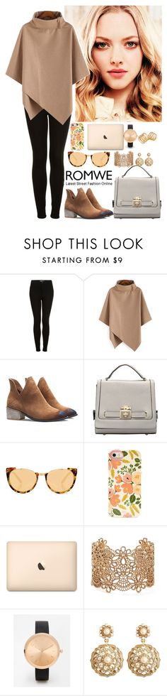 """""""Romwe 4"""" by amra-f ❤ liked on Polyvore featuring Topshop, Linda Farrow, Forever 21, ASOS, Brooks Brothers, Kelly Wearstler, romwe, 5sos and beige"""