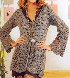 Long Maxi Cardigan With pattern and diagrams at source