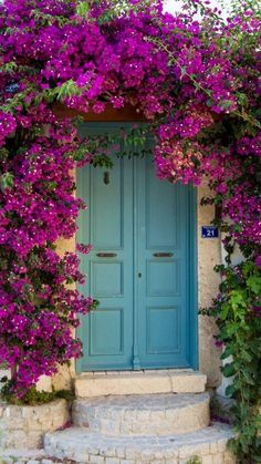 Front Door Paint Colors - Want a quick makeover? Paint your front door a different color. Here a pretty front door color ideas to improve your home's curb appeal and add more style! Bougainvillea, Old Doors, Windows And Doors, Unique Doors, Garden Gates, Doorway, Curb Appeal, Beautiful Places, Scenery